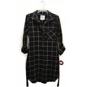SO black plaid shirt dress